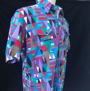 Wrangler Western Teepees Short sleeve Shirt 90s